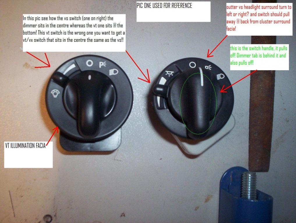 How to change your vs headlight switch to vtvx item just commodores pic1switchesg sciox Images