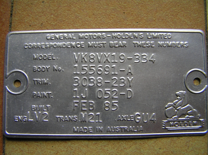 VK Compliance Plate | Just Commodores